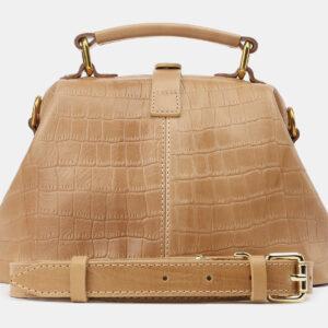 Кожаная бежевая женская сумка ATS-5386