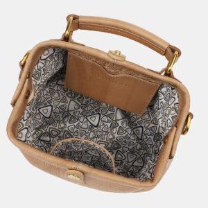 Кожаная бежевая женская сумка ATS-5386 237805