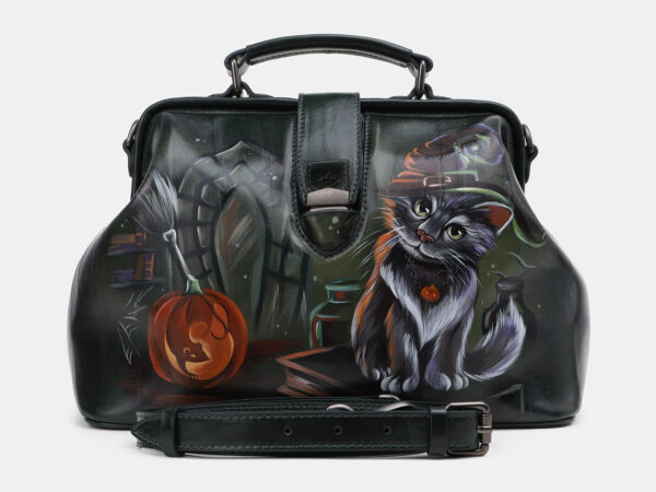 Уникальная черная сумка с росписью ATS-5432