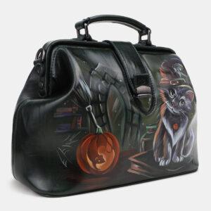 Уникальная черная сумка с росписью ATS-5432 237848