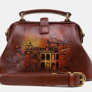 Модная светло-коричневая сумка с росписью ATS-5431