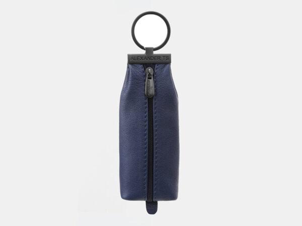 Кожаная синяя ключница ATS-5445