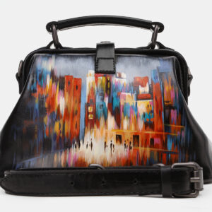 Удобная черная сумка с росписью ATS-5449