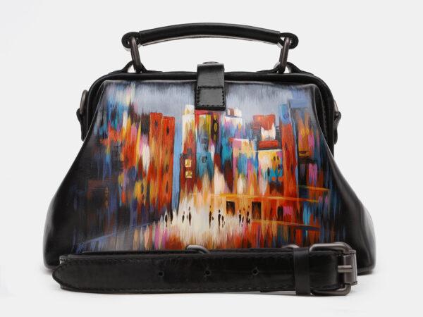 Кожаная черная сумка с росписью ATS-5449