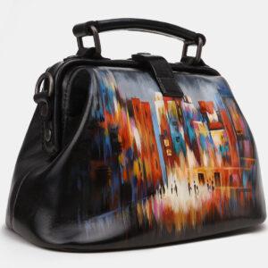 Кожаная черная сумка с росписью ATS-5449 238024