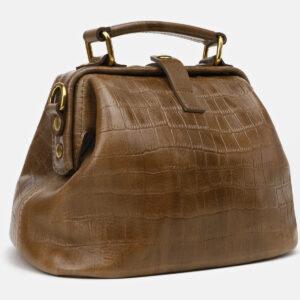 Кожаная желтовато-зелёная женская сумка ATS-5464 238029