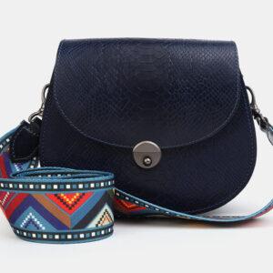 Кожаный синий женский клатч ATS-4049