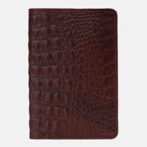 Кожаная бордовая обложка для паспорта ATS-5498