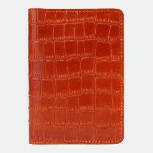 Кожаная оранжевая обложка для паспорта ATS-5502
