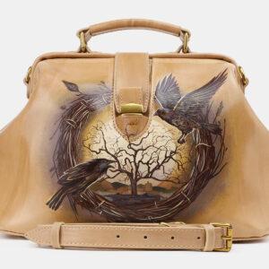Стильная бежевая сумка с росписью ATS-5513