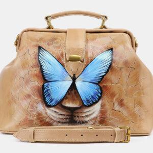 Функциональная бежевая сумка с росписью ATS-5512